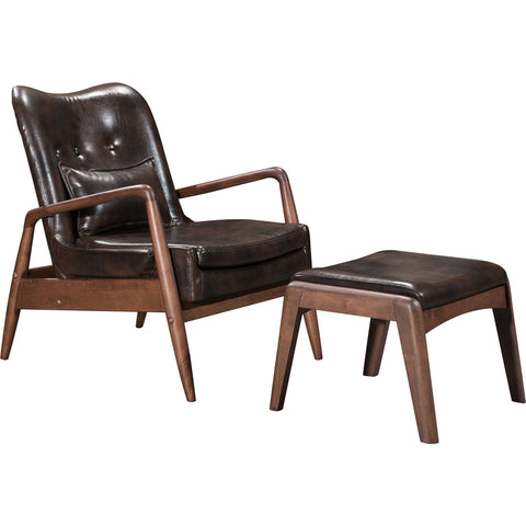 Bully Lounge Chair & Ottoman, Brown