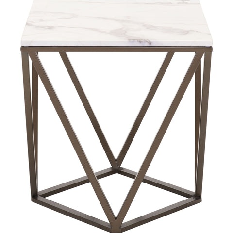 Tintern End Table, Stone & A. Brass