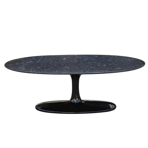 Flower Coffee Table Oval Marble Top, Black