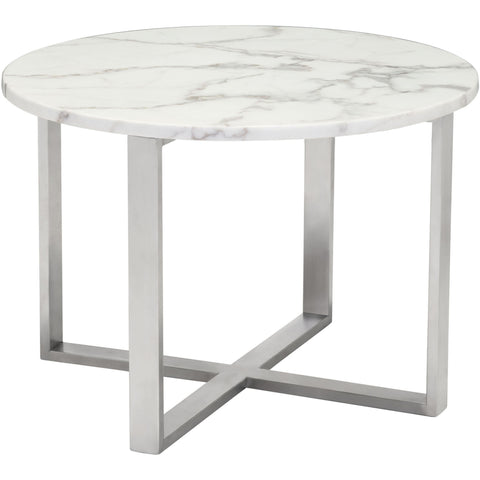 Globe End Table, Stone & Brushed Stainless Steel