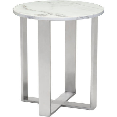 Atlas End Table, Stone & Brushed Stainless Steel