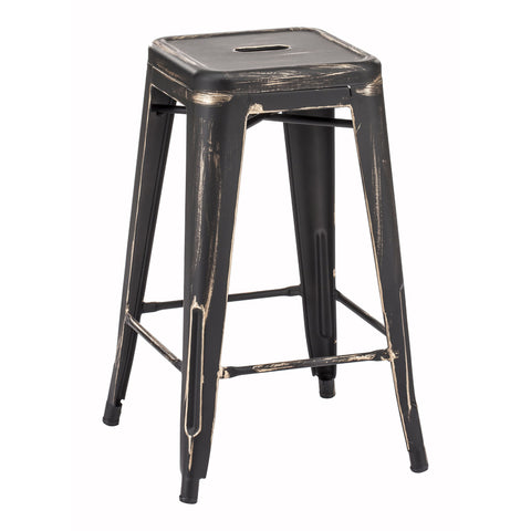 "Saddle 26"" Mid-Century Counter Stools, Walnut & White PU Leather (Set of 2)"