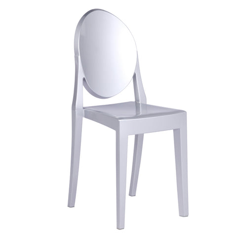 Clear Side Chair, Silver
