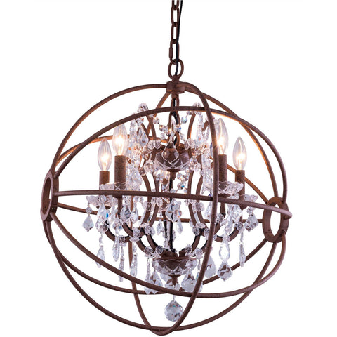 "Geneva 17"" Diam Chandelier, Rustic Intent, Clear Crystal, Royal Cut"