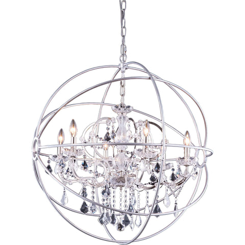 "Geneva 32"" Diam Chandelier, Polished Nickel, Clear Crystal, Royal Cut"