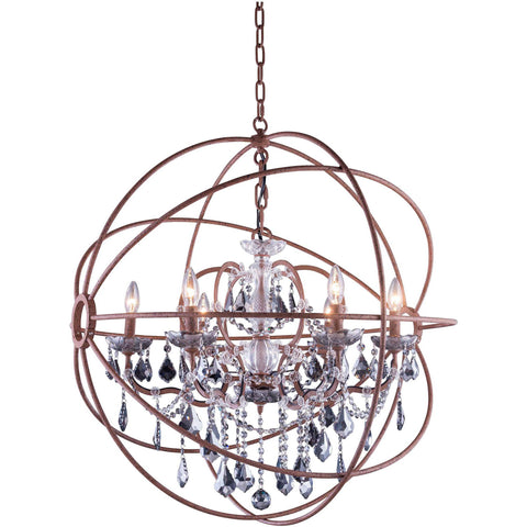 "Geneva 32"" Diam Chandelier, Rustic Intent, Silver Shade Crystal, Royal Cut"