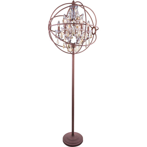"Geneva 24"" Diam Floor Lamp, Rustic Intent Finish, Golden Teak Crystal, Royal Cut"