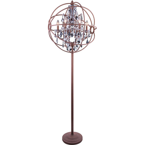 "Geneva 24"" D Floor Lamp, Rustic Intent Finish, Silver Shade Crystal, Royal Cut"