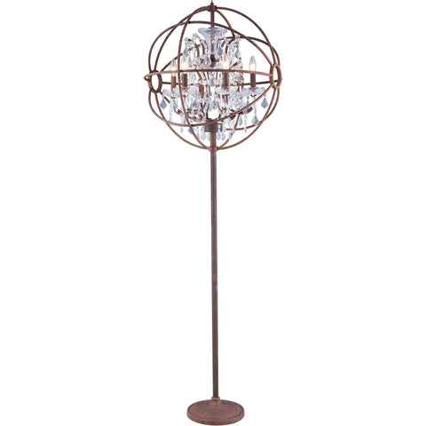 "Geneva 24"" Diam Floor Lamp, Rustic Intent Finish, Clear Crystal, Royal Cut"