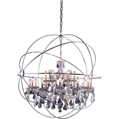 "Geneva 43.5"" Diam Chandelier, Polished Nickel, Silver Shade Crystal, Royal Cut"