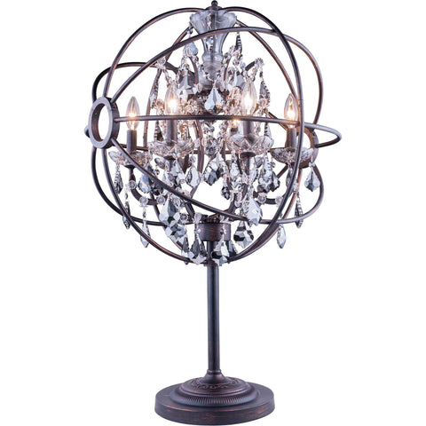 "Geneva 22"" Diam Table Lamp, Dark Bronze Finish, Silver Shade Crystal, Royal Cut"