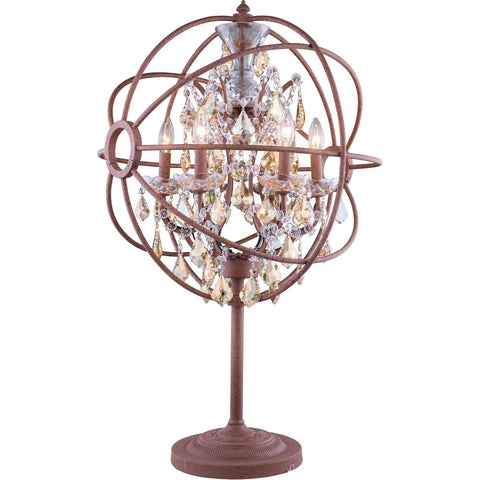 "Geneva 22"" Diam Table Lamp, Rustic Intent Finish, Golden Teak Crystal, Royal Cut"
