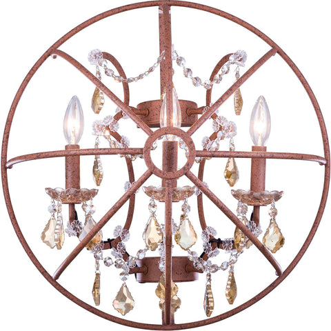 "Geneva 21"" W Wall Sconce, Rustic Intent Finish, Golden Teak Crystal, Royal Cut"