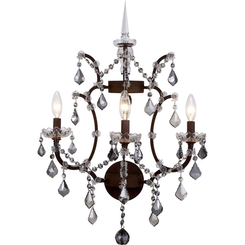 "Elena 17"" W Wall Sconce, Rustic Intent Finish, Silver Shade Crystal, Royal Cut"