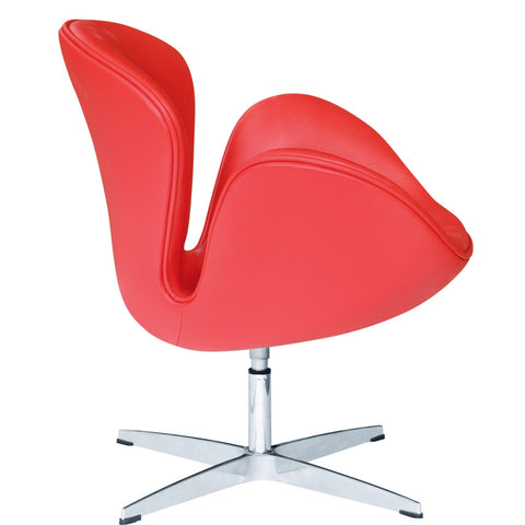 Swan Swivel Chair Leather, Red