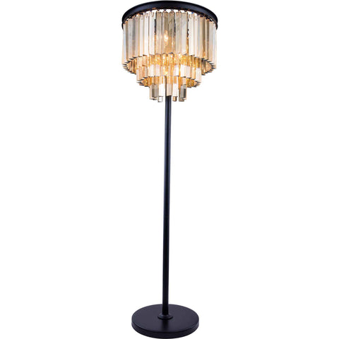 "Sydney 20"" Diam Floor Lamp, Mocha Brown Finish, Golden Teak Crystal, Royal Cut"