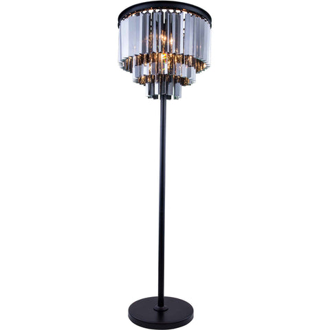 "Sydney 20"" Diam Floor Lamp, Mocha Brown Finish, Silver Shade Crystal, Royal Cut"