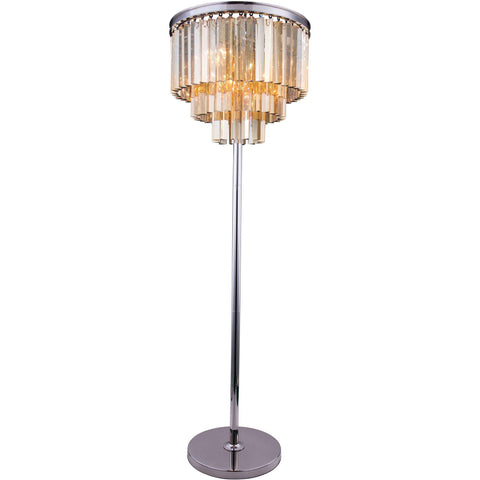 "Sydney 20"" Diam Floor Lamp, Polished Nickel, Golden Teak Crystal, Royal Cut"