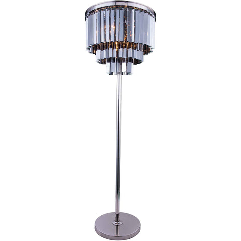 "Sydney 20"" Diam Floor Lamp, Polished Nickel, Silver Shade Crystal, Royal Cut"