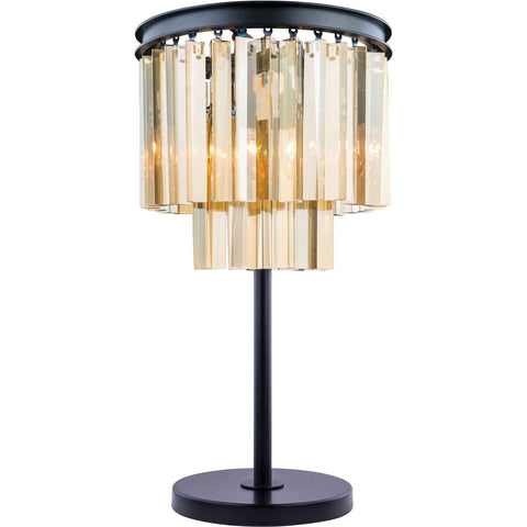 "Sydney 14"" Diam Table Lamp, Mocha Brown Finish, Golden Teak Crystal, Royal Cut"