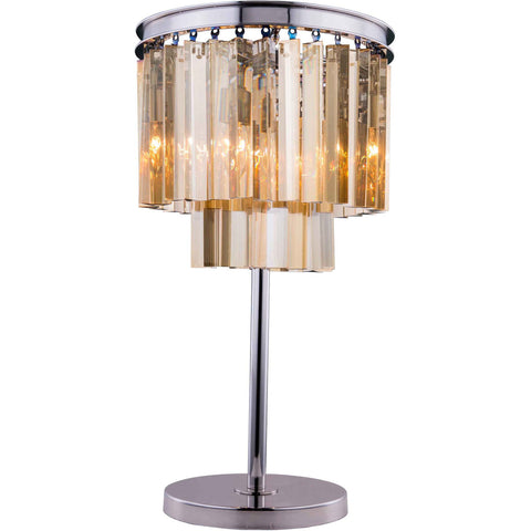 "Sydney 14"" Diam Table Lamp, Polished Nickel, Golden Teak Crystal, Royal Cut"