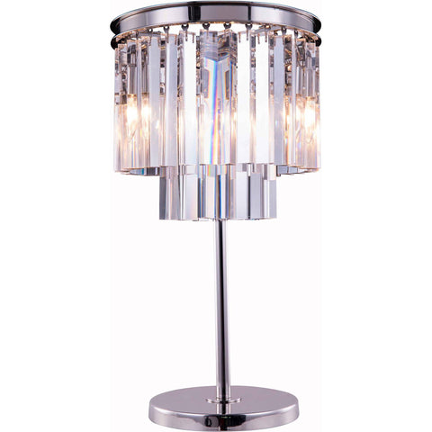 "Sydney 14"" Diam Table Lamp, Polished Nickel Finish, Clear Crystal, Royal Cut"