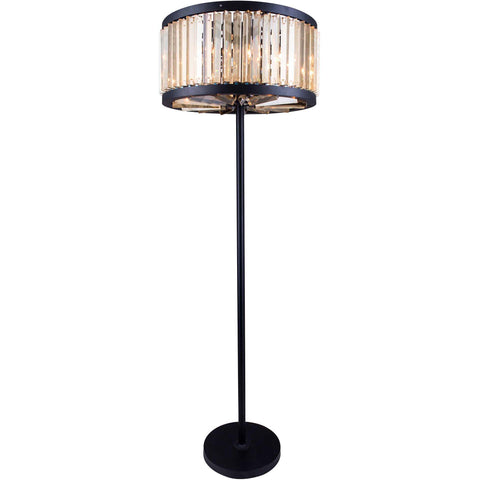 "Chelsea 25"" Diam Floor Lamp, Mocha Brown Finish, Golden Teak Crystal, Royal Cut"