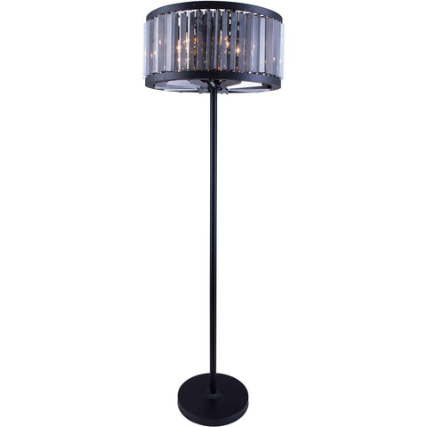 "Chelsea 25"" Diam Floor Lamp, Mocha Brown Finish, Silver Shade Crystal, Royal Cut"