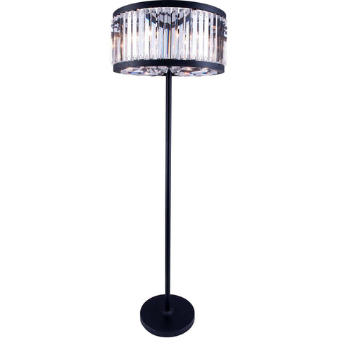 "Chelsea 25"" Diam Floor Lamp, Mocha Brown Finish, Clear Crystal, Royal Cut"