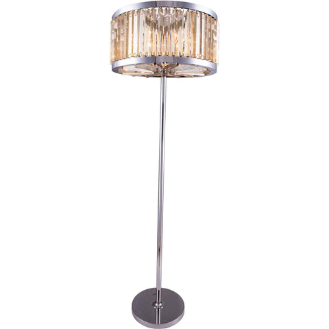 "Chelsea 25"" Diam Floor Lamp, Polished Nickel, Golden Teak Crystal, Royal Cut"