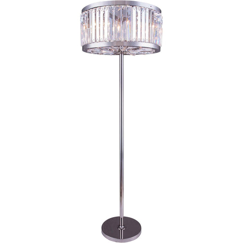 "Chelsea 25"" Diam Floor Lamp, Polished Nickel Finish, Clear Crystal, Royal Cut"
