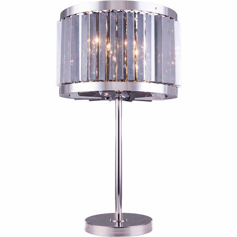 "Chelsea 18"" Diam Table Lamp, Polished Nickel, Silver Shade Crystal, Royal Cut"