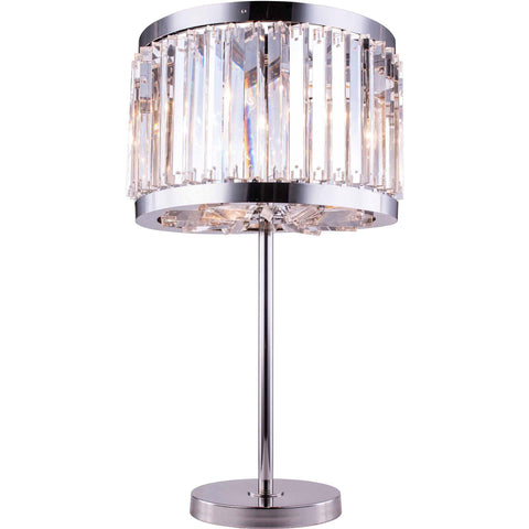 "Chelsea 18"" Diam Table Lamp, Polished Nickel Finish, Clear Crystal, Royal Cut"