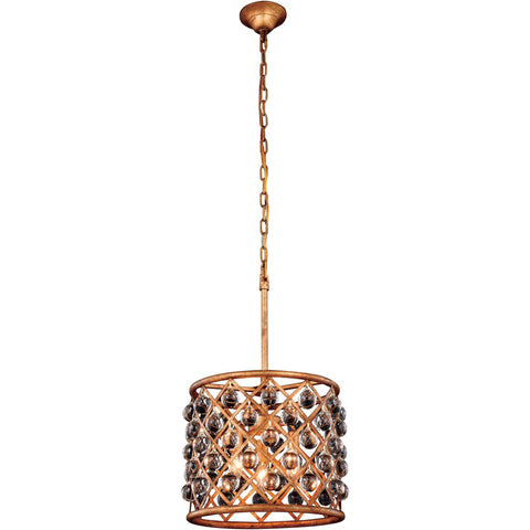 "Madison 14"" Diam Chandelier, Golden Iron, Clear Crystal, Royal Cut"
