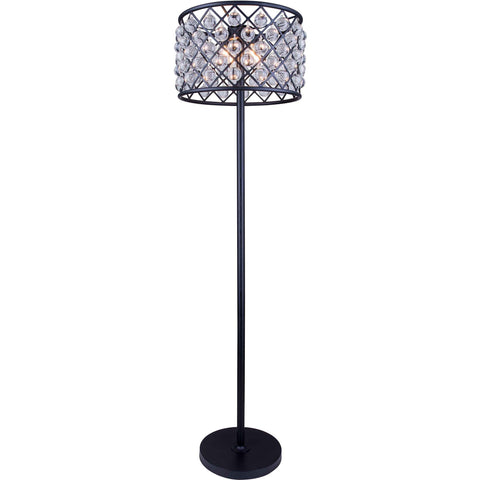 "Madison 20"" Diam Floor Lamp, Mocha Brown Finish, Clear Crystal, Royal Cut"
