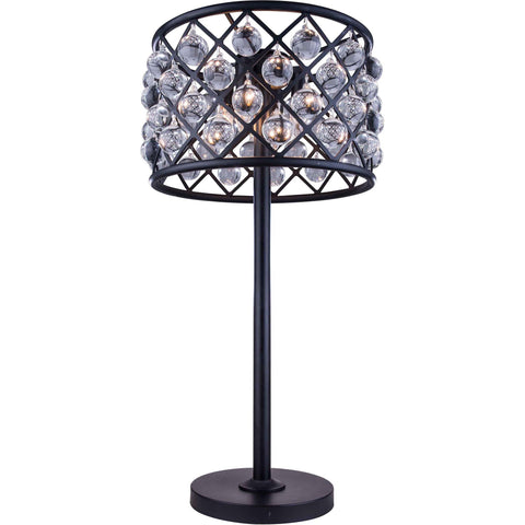 "Madison 15.5"" Diam Table Lamp, Mocha Brown Finish, Clear Crystal, Royal Cut"