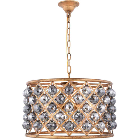 "Madison 20"" Diam Chandelier, Golden Iron, Silver Shade Crystal, Royal Cut"