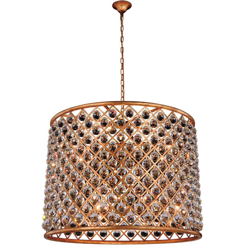 "Madison 35.5"" Diam Chandelier, Golden Iron, Clear Crystal, Royal Cut"