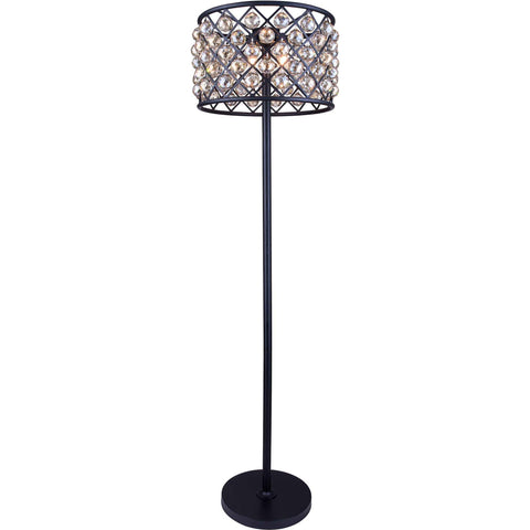 "Madison 20"" Diam Floor Lamp, Mocha Brown Finish, Golden Teak Crystal, Royal Cut"