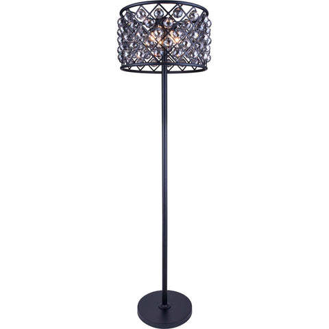 "Madison 20"" Diam Floor Lamp, Mocha Brown Finish, Silver Shade Crystal, Royal Cut"