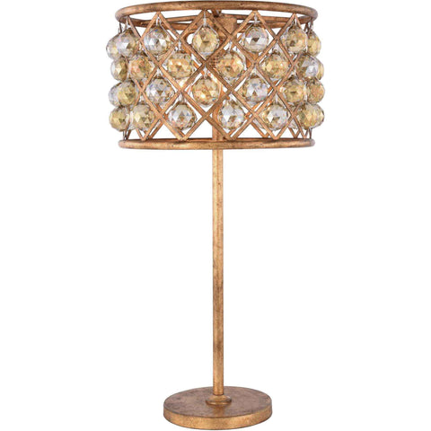 "Madison 15.5"" D Table Lamp, Golden Iron Finish, Golden Teak Crystal, Royal Cut"