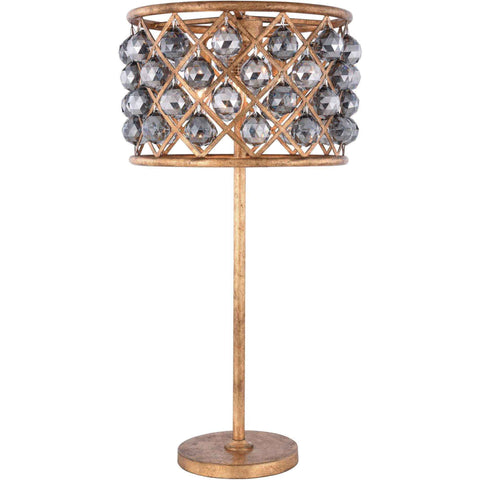 "Madison 15.5"" D Table Lamp, Golden Iron Finish, Silver Shade Crystal, Royal Cut"