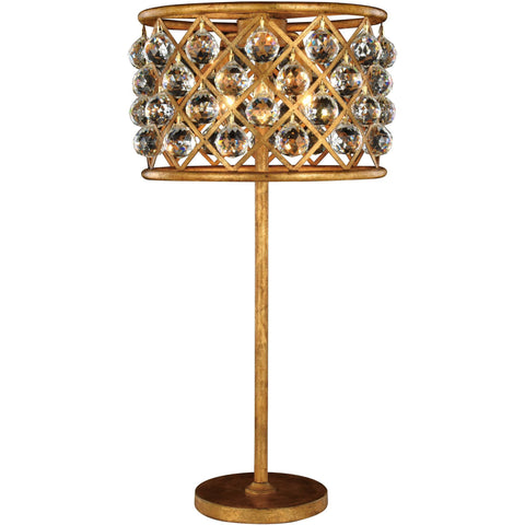 "Madison 15.5"" Diam Table Lamp, Golden Iron Finish, Clear Crystal, Royal Cut"