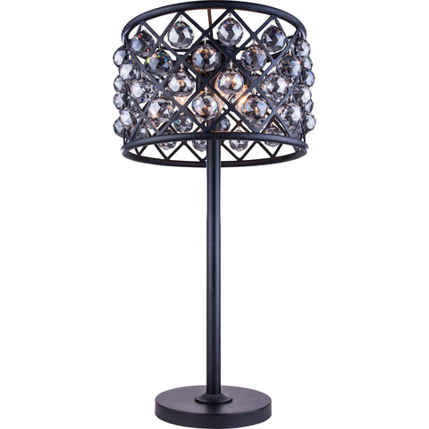 "Madison 15.5"" Diam Table Lamp, Mocha Brown, Silver Shade Crystal, Royal Cut"