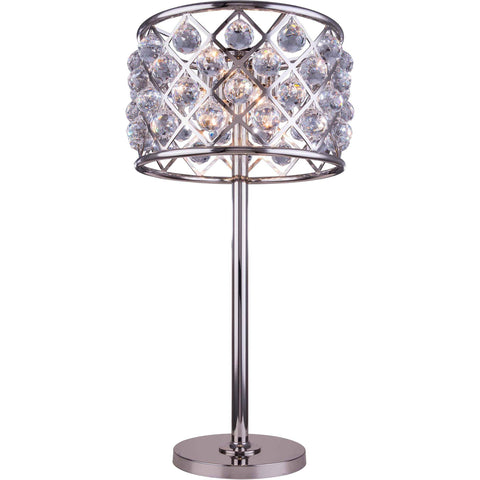 "Madison 15.5"" Diam Table Lamp, Polished Nickel Finish, Clear Crystal, Royal Cut"
