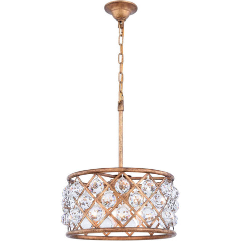 "Madison 16"" Diam Chandelier, Golden Iron, Clear Crystal, Royal Cut"