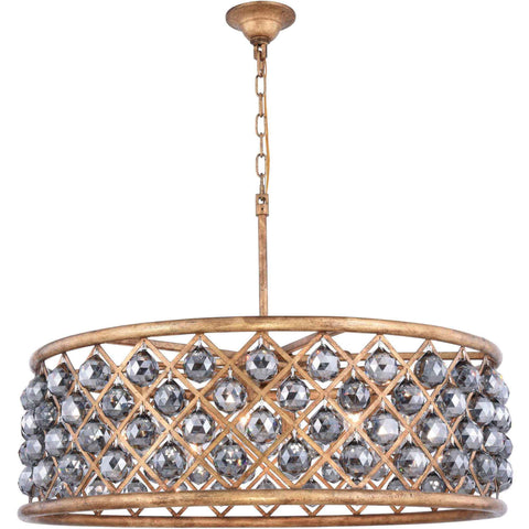 "Madison 32"" Diam Chandelier, Golden Iron, Silver Shade Crystal, Royal Cut"