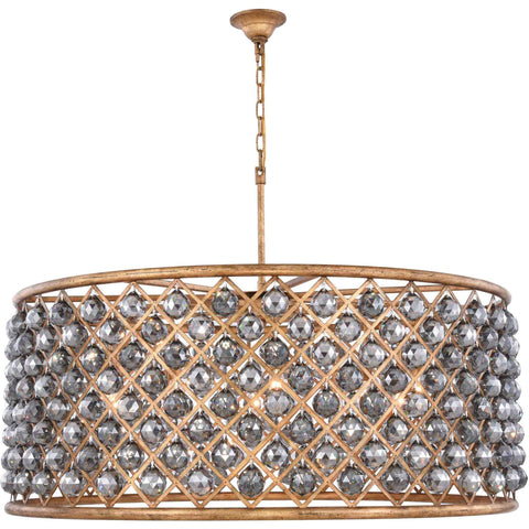 "Madison 43.5"" Diam Chandelier, Golden Iron, Silver Shade Crystal, Royal Cut"
