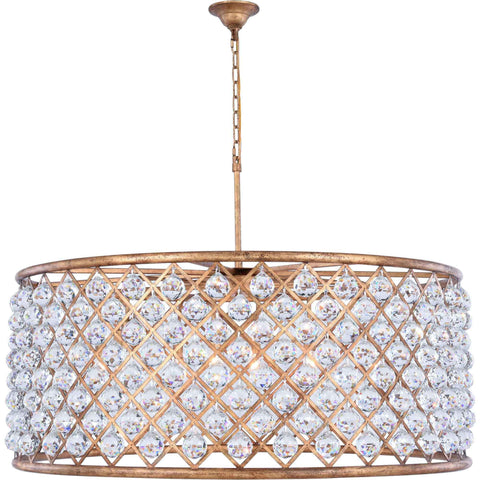 "Madison 43.5"" Diam Chandelier, Golden Iron, Clear Crystal, Royal Cut"