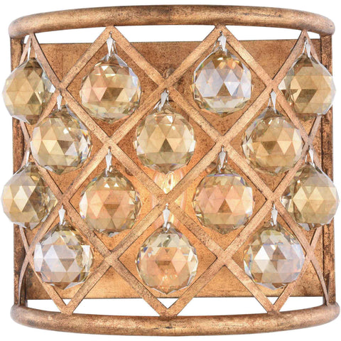 "Madison 11.5"" W Wall Sconce, Golden Iron Finish, Golden Teak Crystal, Royal Cut"